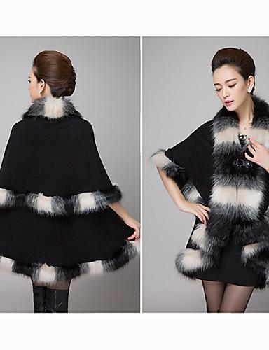 Buy Women's Solid Blue / Pink Red Black Khaki Coat , Party Knitwear Faux Fur Wool Blends SF9B15
