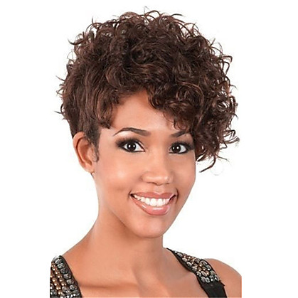 Short Curly Brown Wig For Women Haircut Synthetic Highlight Natural ...