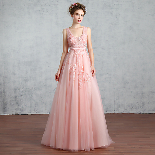 A-Line V Neck Court Train Lace Tulle Prom Formal Evening Dress with Beading Sequin Lace Pearl Detailing by QZ