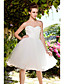 Lanting Bride® С пышной юбкой Для миниатюрных / Большие размеры Свадебное платье - Шик и модерн / Платья для торжеств Прозрачные До колена