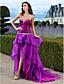 uma linha-namorada vestido de noite / baile de paetês assimétrico com saia em camadas