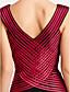 Formal Evening / Military Ball Dress - Open Back Sheath / Column V-neck Floor-length Tulle with