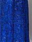 Vestido - Azul Real Festa Formal/Baile de Formatura/Baile Militar Sereia V profundo/Decote em V Longo Chiffon/Lantejoulas Tamanhos Grandes