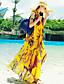 Plážové Swing Šaty Tisk,Bez rukávů Maxi Žlutá Léto Neelastické Tenké