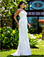 Lanting Bride Sheath/Column Petite / Plus Sizes Wedding Dress-Sweep/Brush Train Jewel Chiffon