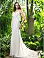 Lanting Bride® Pouzdrové Drobná / Nadměrné velikosti Svatební šaty - Elegantní & moderní Dlouhá vlečka Špagetová ramínka Šifón s