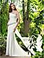 Lanting Bride® Sheath / Column Petite / Plus Sizes Wedding Dress - Chic & Modern / Elegant & Luxurious Sweep / Brush Train One Shoulder