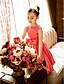 Lanting Bride® A-linje Prinsesse Te-længde Blomsterpigekjole - Satin Kortærmet Høj halset med Sløjfe(r)