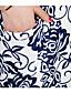 Gaine Robe Femme Décontracté / Quotidien Grandes Tailles simple Chinoiserie,Imprimé Col en U Au dessus du genou Manches CourtesBleu Rose