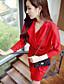 여성의 주름장식 드레스 셔츠 카라/비대칭 긴 소매 무릎 위 스판덱스/폴리에스테르