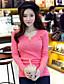 Mulheres Blusa Casual Simples Outono,Sólido Rosa / Branco / Preto / Cinza Algodão Decote V / Decote Redondo Manga Longa Média