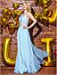 TS couture® формальное вечернее платье Онлайн одно плечо длиной до пола, шифон / кружева с кружевами