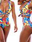 Ženski Bikini - Bandeau grudnjak - Bez žice - S cvjetnim printom - Najlon / Spandex