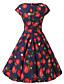 ženske cap rukavima Royal Blue jagode ispis cvjetni haljina, berba kapa rukava 50s rockabilly ljuljačka haljinu
