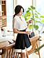여성의 솔리드 V 넥 짧은 소매 블라우스,심플 작동 화이트 폴리에스테르 / 스판덱스 여름 중간