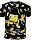 남성의 면 프린트 짧은 소매 캐쥬얼 / 스포츠 티셔츠-블랙
