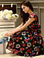 Damen Kleid-Swing Street Schick Blumen Übers Knie Polyester / Elasthan V-Ausschnitt