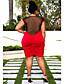 קיץ פוליאסטר אדום ללא שרוולים מעל הברך צווארון עגול טלאים פשוטה יום יומי\קז