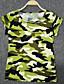 여성의 갤럭시 라운드 넥 짧은 소매 티셔츠,플러스 사이즈 / 스트리트 쉬크 캐쥬얼/데일리 그린 면 / 린넨 여름 중간
