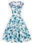 Mulheres Swing Vestido,Casual Moda de Rua Floral Decote Princesa Altura dos Joelhos Sem Manga Azul / Rosa / Roxo Algodão / Poliéster