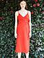 liangsanshi naisten vapaa-ajan / päivittäin street chic tuppi mekko, kiinteä syvä v midi hihaton punainen polyesteri kesä