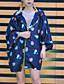Hætte Langærmet Tynd Kvinders Blå Trykt mønster Sommer Simpel I-byen-tøj / Casual/hverdag Cloak / Capes,Polyester