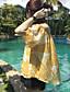 Kortærmet Bateau-hals Medium Kvinders Gul Blomstret Sommer Simpel Casual/hverdag Bluse,Polyester