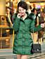 Langærmet Lang Vatteret Damer Frakke,Simpel Gade I-byen-tøj Afslappet/Hverdag Plusstørrelser Ensfarvet-Polyester Polypropylen Hætte