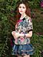 Kortærmet Skulderfri Tynd / Medium Kvinders Rosa Blomstret / Broderi Sommer Vintage I-byen-tøj T-shirt,Rayon / Nylon