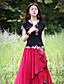 Kortærmet Sweetheart Medium Kvinders Sort Broderi Sommer Kineseri I-byen-tøj T-shirt,Bomuld / Spandex