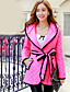 Manteau Femme,Couleur Pleine Manches Longues Capuche Rose Coton Polyester Spandex Epais Hiver