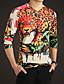 Bomull Beige Medium Langermet,V-hals T-skjorte Trykt mønster Alle sesonger Punk & Gotisk Fritid/hverdag / Plusstørrelser Herre