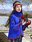 Ull / Polyester Blå Medium Langermet,Turtleneck Cloak / Capes Broderi Bohem Fritid/hverdag-Vinter Dame