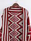 Dames Casual/Dagelijks Street chic Lang Cloak / Capes Geometrisch-Blauw Rood Zwart Wijde col Mouwloos Katoen Winter Dik Micro-elastisch
