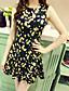 Damen Hülle Kleid-Klub Niedlich Blumen Rundhalsausschnitt Mini Ärmellos Gelb Baumwolle Sommer Hohe Hüfthöhe Mikro-elastisch Dünn