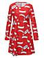 Damen Lose Kleid-Ausgehen Retro Druck Rundhalsausschnitt Übers Knie Langarm Baumwolle Frühling Mittlere Hüfthöhe Mikro-elastisch Mittel