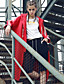 Damen Gestreift Einfach Lässig/Alltäglich Mantel,Winter Mit Kapuze Langarm Rot Wolle Polyester