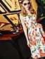 Naiset Löysä Mekko Yksinkertainen Party Bile Rento/arki,Kukka Venekaula-aukko Reisipituinen Hihaton Polyesteri Kesä Syksy Keski vyötärö