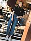 Damen Einfach Mittlere Hüfthöhe Mikro-elastisch Jeans Schlank Hose Druck