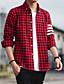 Bomull Polyester Medium Tynn Langermet,Skjortekrage Skjorte Ensfarget Stripet Rutet Alle sesonger Høst Vintage Enkel Gatemote
