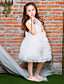 Ball Gown Knee Length Flower Girl Dress - Tulle Netting Sleeveless Jewel Neck with Bowknot