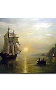 håndmalte oljemaleri en solnedgang rolig i bukten Fundy ved Bradford William med utstrakte ramme