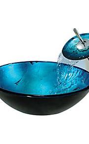 redondo em azul, dissipador da embarcação vidro temperado com torneira de cachoeira, anel de montagem e de drenagem de água (0888-c-mente-6438-wf)