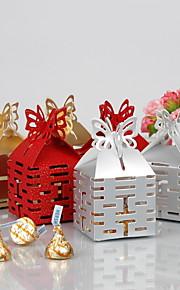 dubbel geluk cut-out ten gunste doos met vlinder top (set van 12)