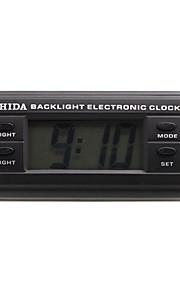 automotive elektronische klok met blauwe achtergrondverlichting - zwart - ZD-06B