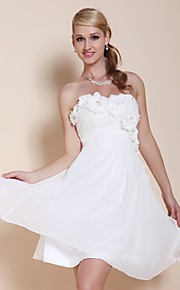 TS Couture® Cocktail Party / Graduation Dress - White Plus Sizes / Petite A-line / Princess Strapless / Sweetheart Knee-length Chiffon