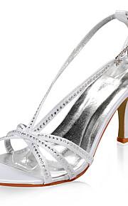 satijn bovenste hoge hak sandalen met strass huwelijk bruids schoenen