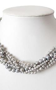 5 brin gris 3-7mm d'eau douce collier de perles - 16 pouces