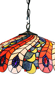 tiffany anheng lys med 2 lys i påfuglfjær mønstret skygge