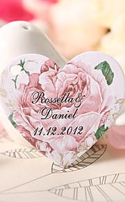 personnalisé étiquette de faveur en forme de coeur - rose (jeu de 60)